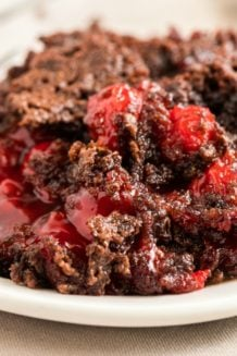 chocolate cherry dump cake on a plate
