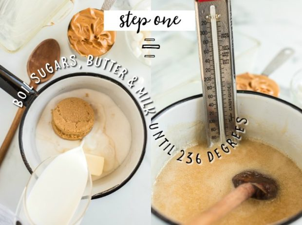 boiling ingredients for peanut butter fudge