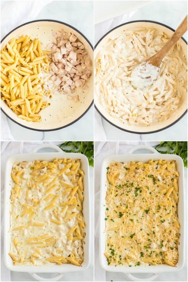 steps for making chicken alfredo bake