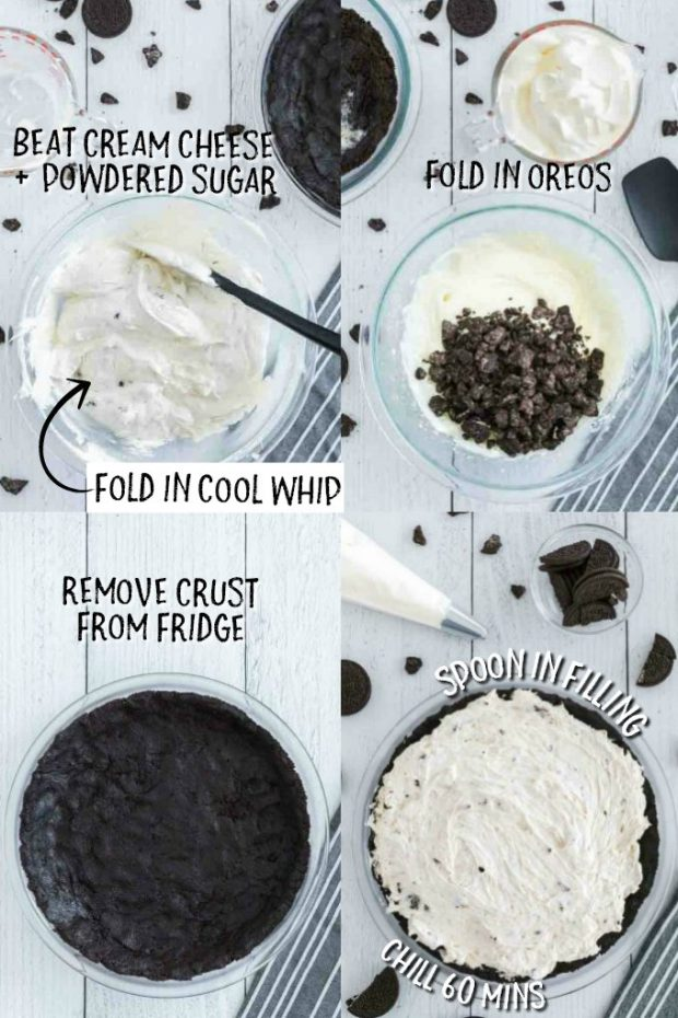 four photos showing how to make oreo pie