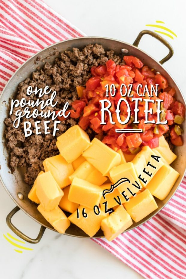 ingredients for Rotel Dip in a pan