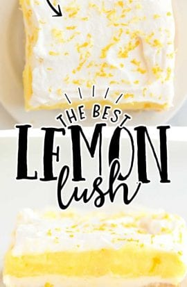 close up shot and overhead shot of lemon lush on a white plate