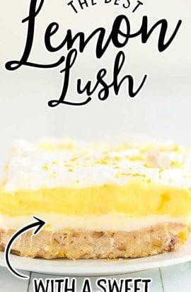 close up shot of lemon lush on a white plate