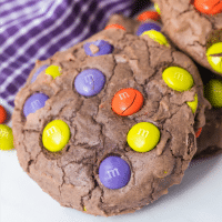 Double Chocolate M&M Cookies for Halloween