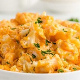 close up shot of a bowl of Cauliflower Mac and Cheese topped with parsley