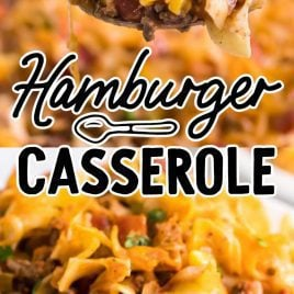 close up shot of a serving of Hamburger Casserole on a plate and on a spoon