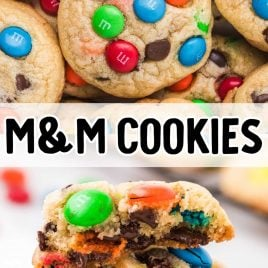 close up overhead shot of a pile of m&m cookies and close up shot of a plate of m&m cookies stacked on top of each other