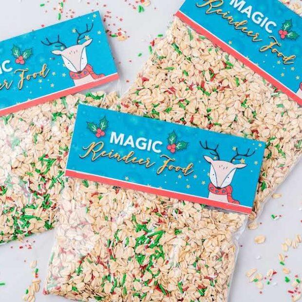 close up overhead shot of bags of Reindeer Food