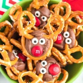 close up overhead shot of a bowl of Reindeer Pretzels