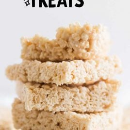 close up shot of Rice Krispie Treats stacked on top of each other