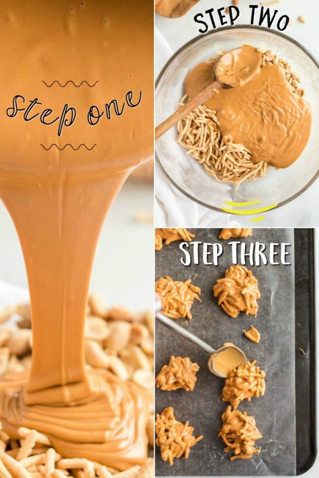 three photos showing how to make butterscotch haystacks