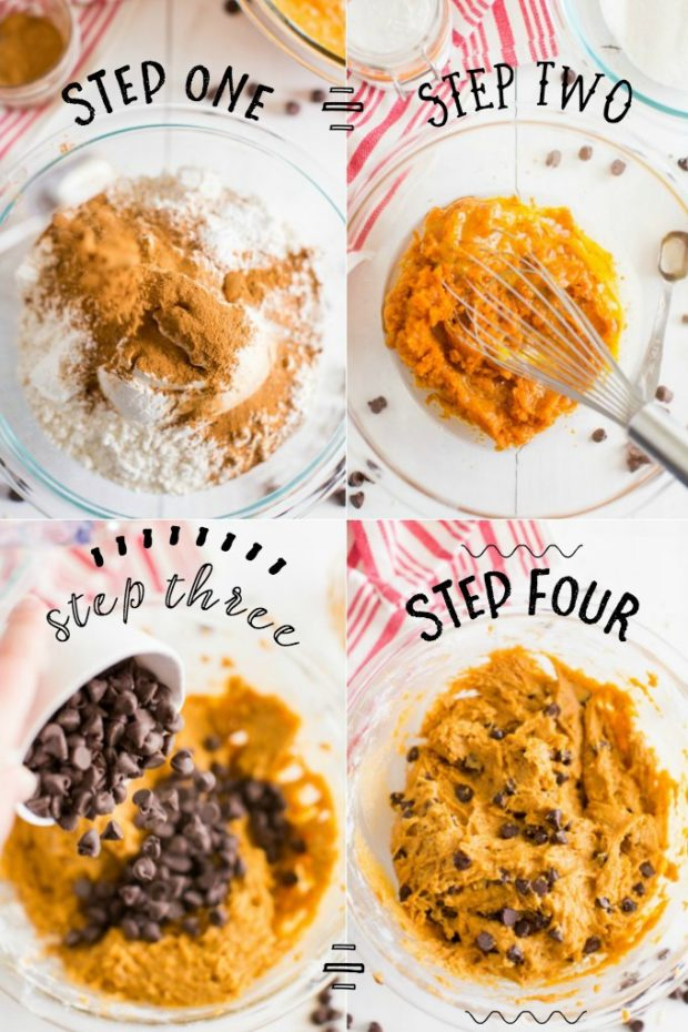 four steps for making pumpkin chocolate chip cookies