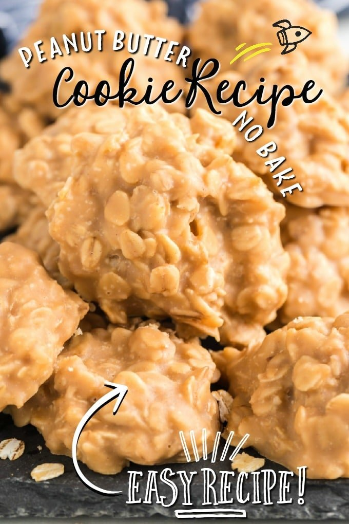 peanut butter no bake cookies piled on plate
