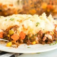 A close up of a plate of food, with Shepherd's pie