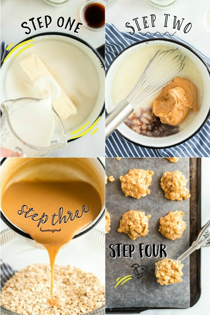 steps for making peanut butter no bake cookies