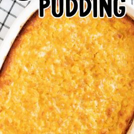 close up overhead shot of a dish of Corn Pudding