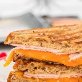 A close up of a sandwich on a plate, with Ham
