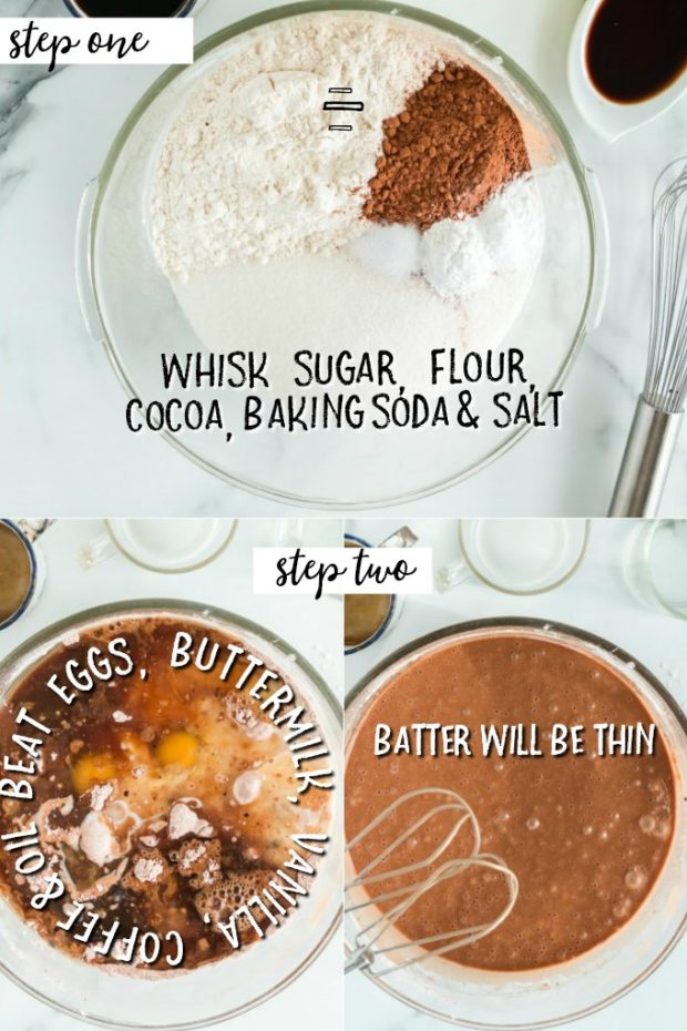 3 photos showing steps for making busy day chocolate cake