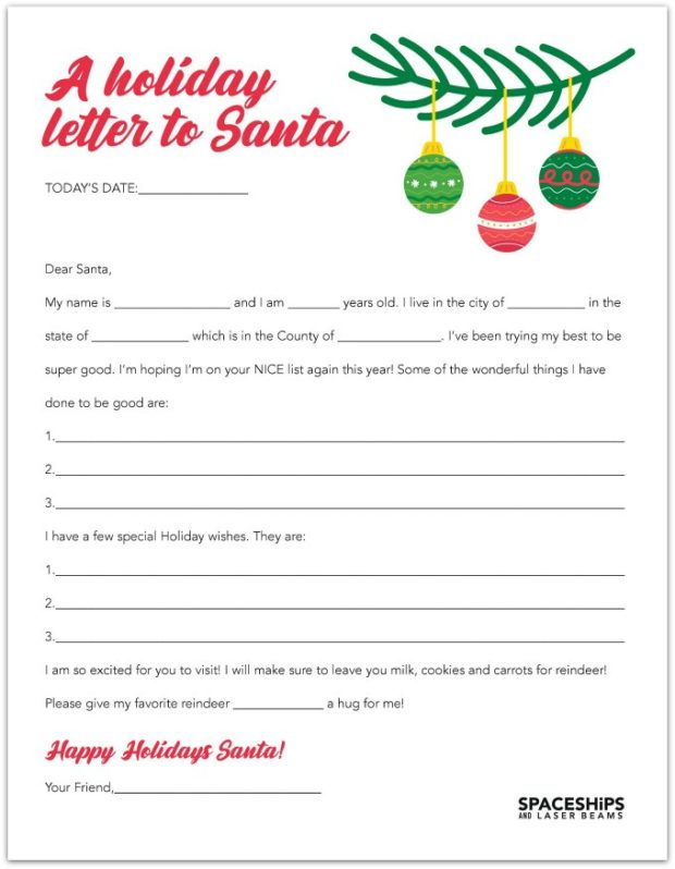 20 Free Printable Letters To Santa Templates Spaceships And Laser Beams