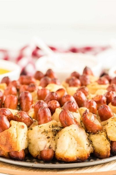 close up shot of Pull Apart Pigs in a Blanket on a rack