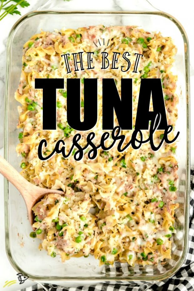 A dish is filled with food, with Casserole and Tuna