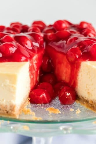 cheesecake with cherries on top