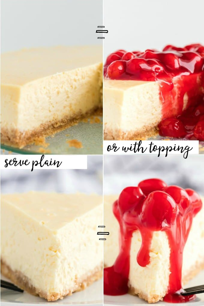 cheesecake slices with and without cherry topping