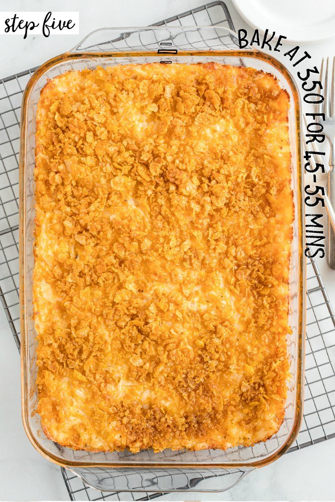 casserole dish with cooked potato casserole in it