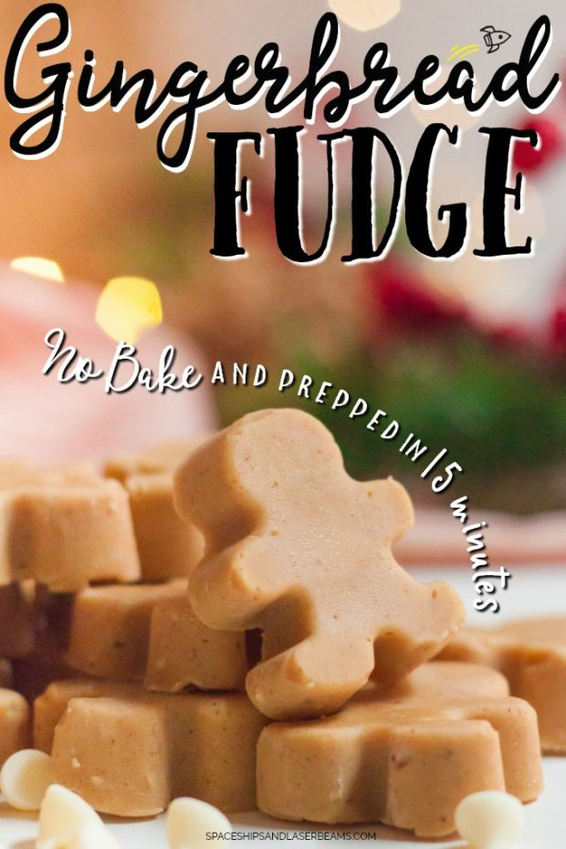 gingerbread man shaped fudge in a small stack
