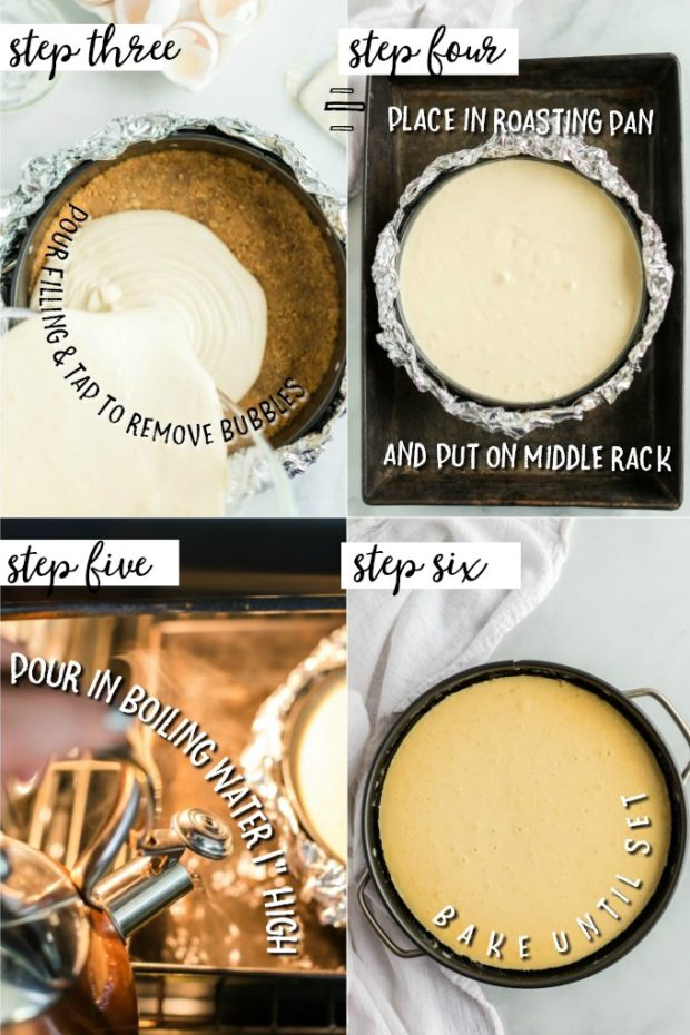 Steps showing how to bake a cheesecake