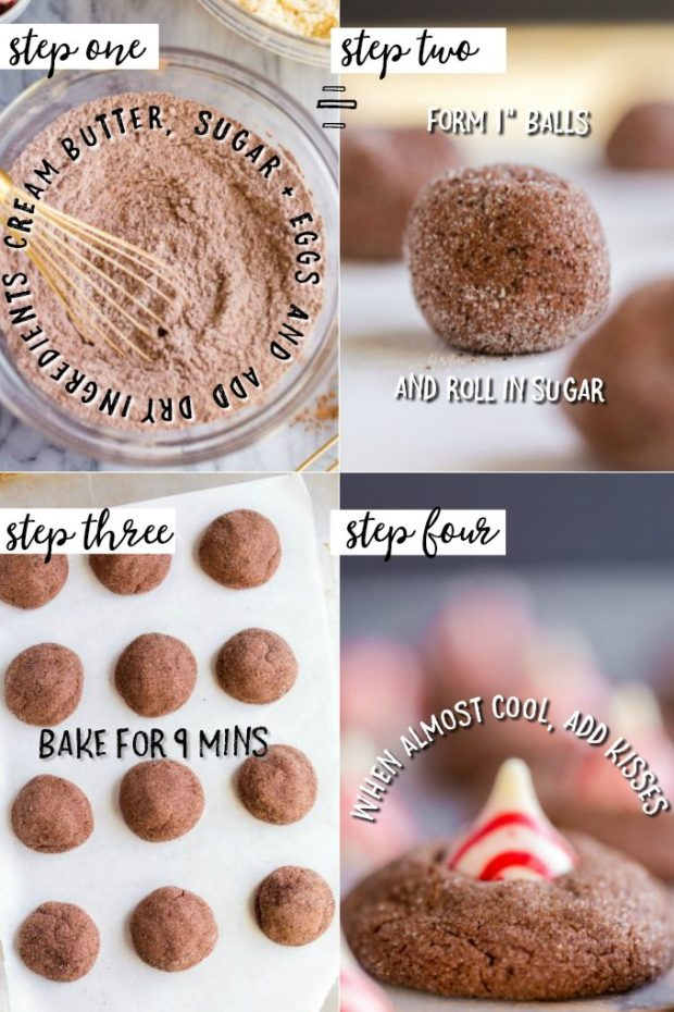 Four photo collage showing steps for making candy cane kiss cookies