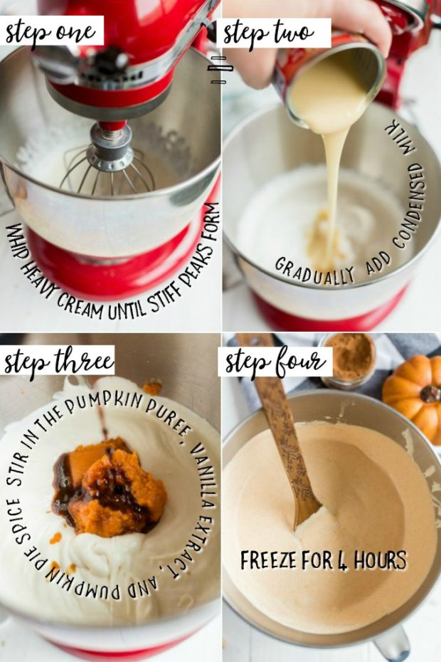 four photos showing how to make no churn pumpkin ice cream