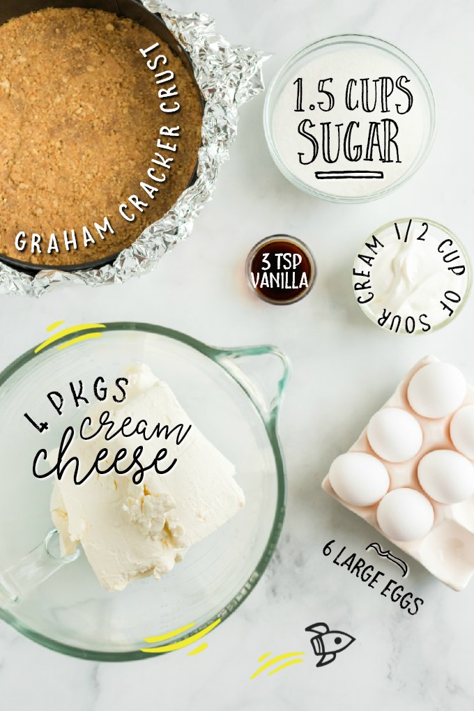 ingredients for cheesecake labeled