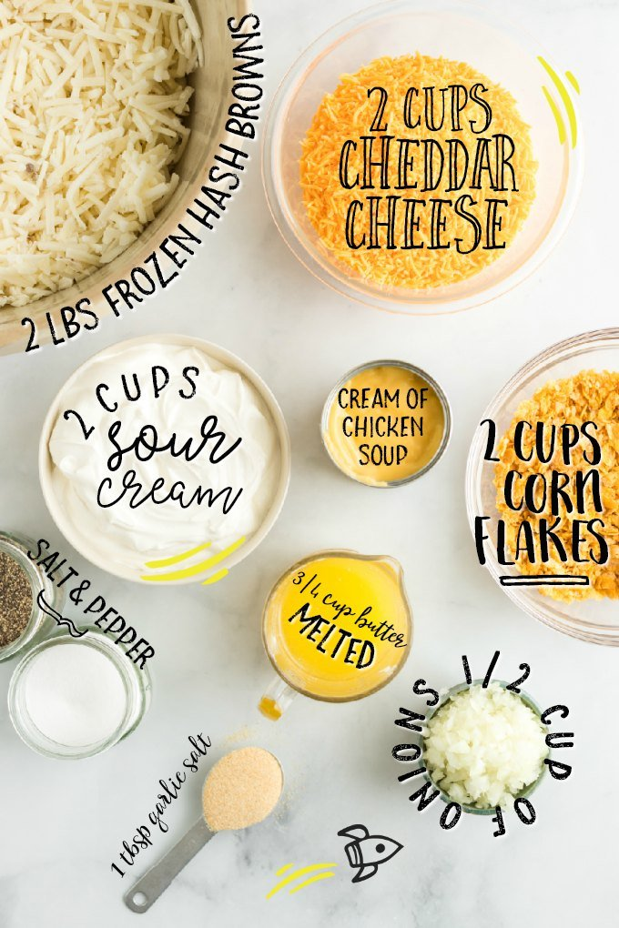 ingredients for creamy potato casserole with labels on them