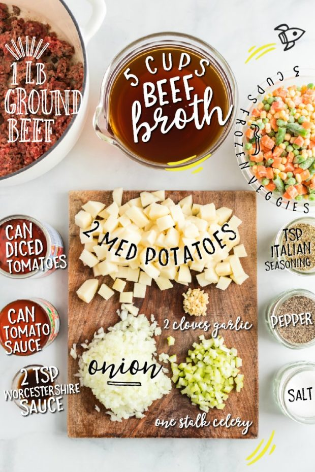 hamburger soup ingredients pictured with labels