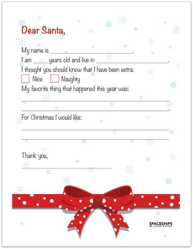 20 Free Printable Letters To Santa Templates Spaceships