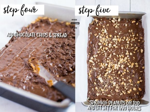 two photos showing how to spread melted chocolate to make toffee