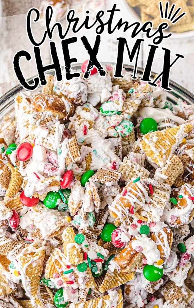 close up overhead shot of christmas chex mix in a clear bowl