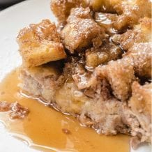 close up shot of French toast casserole on a plate
