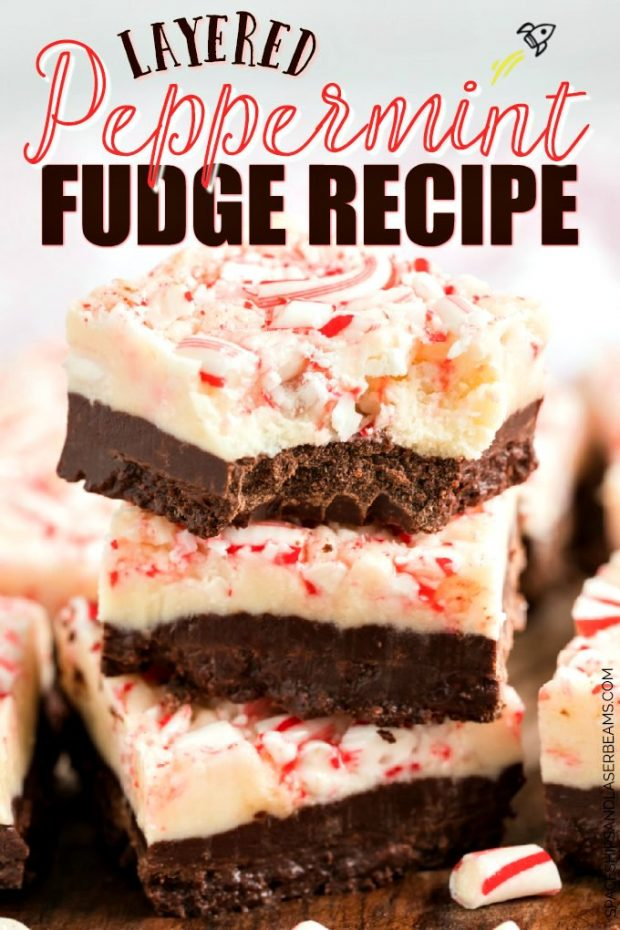 stack of 3 pieces of layered peppermint fudge