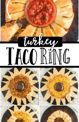 COLLAGE OF TURKEY TACO RING PHOTOS