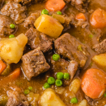 close up overhead shot of beef stew