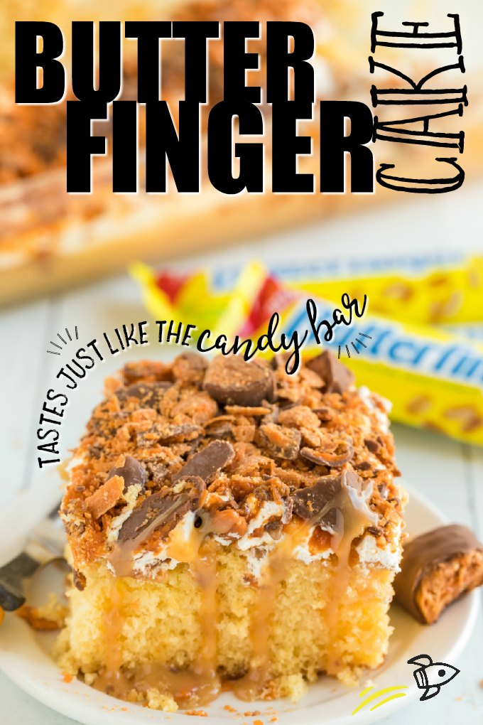 A piece of cake on a plate, with Butterfinger