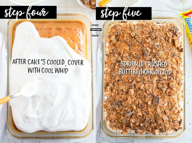 cool whip and crushed butterfinger on top of cake