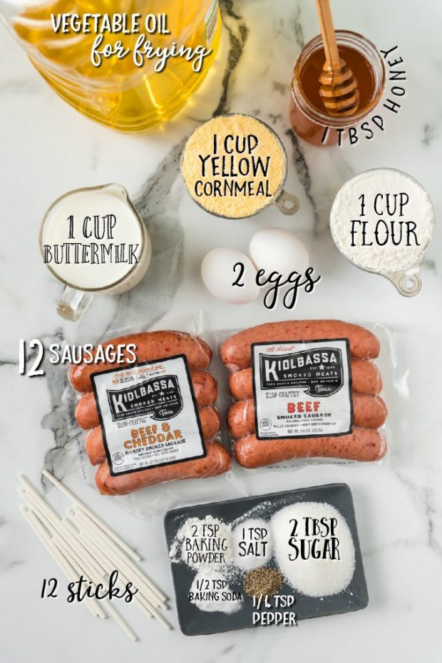 ingredients for homemade corn dogs labelled