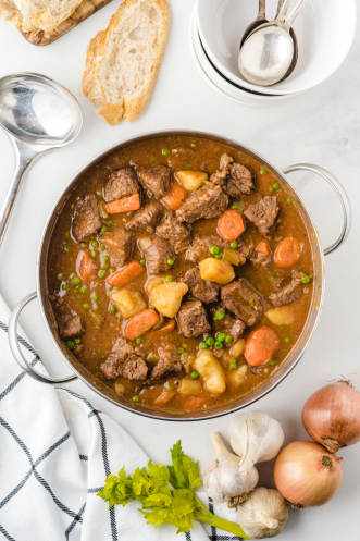 overhead shot of beef stew in a pot