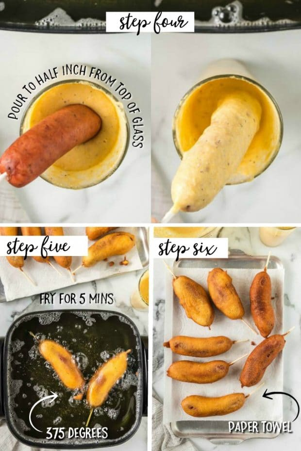 photo collage showing steps for frying corn dogs
