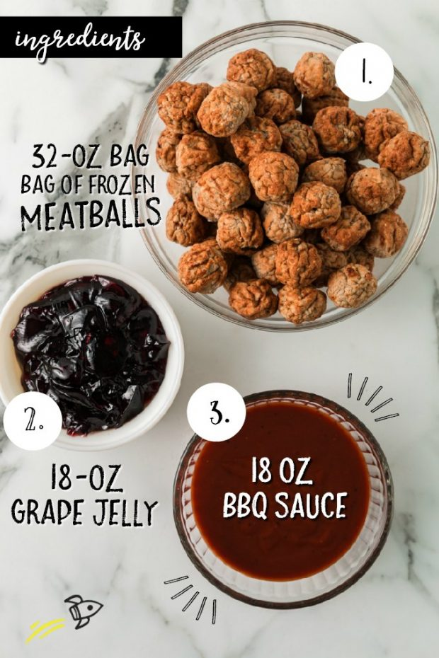 3 ingredients needed for grape jelly meatballs in bowls with labels on them