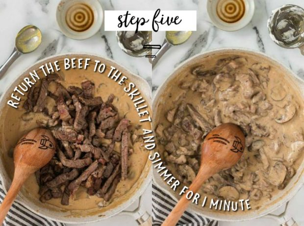 two photos of two skillets showing how to make beef stroganoff sauce