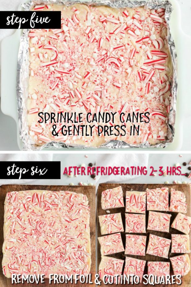 photo collage showing how to make peppermint fudge